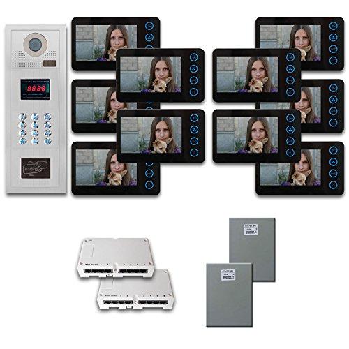 Multi Tenant Video Intercom 10 five inch monitor door panel camera - 10 Tenant Doors
