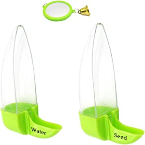 Bird Feeder and Drinker Set, Birds Water Dispenser for Cage, Clear Plastic Seed & Water Dispenser, Automatic Feeding for Parrot Parakeets Canaries Finches Budgie, 7 Days Capacity (2 Pack)