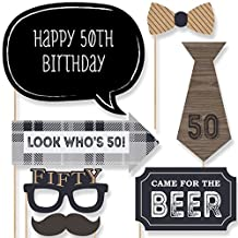 50th Milestone Birthday - Dashingly Aged to Perfection - Birthday Photo Booth Props Kit - 20 Count