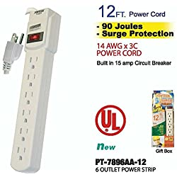 Fashion 6 OUTLET POWER STRIP WITH SURGE PROTECTION - 12 ft CORD