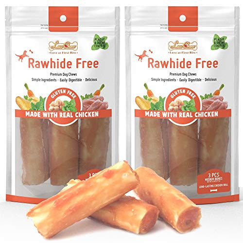 LuvChew Premium Long-Lasting Dog Chew Roll Made with Real Chicken & Wholesome Vegetables, Rawhide Free, Gluten Free, Delicious, Healthy, Highly Digestible, Safe, USDA & FDA Approved