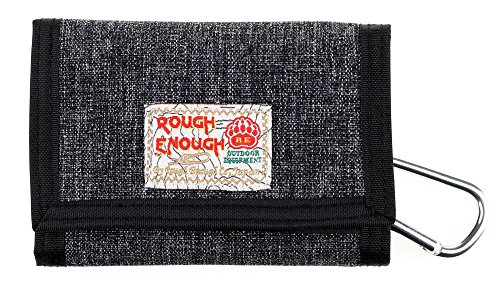 Rough Enough Mens Boys Travel Front Pocket Trifold Small Mini Minimalist Wallets Change Coin Purse Credit Card Holder Money Cash Bag Organizer Pouch with Zipper Pocket for Women Girls Teen Japanese