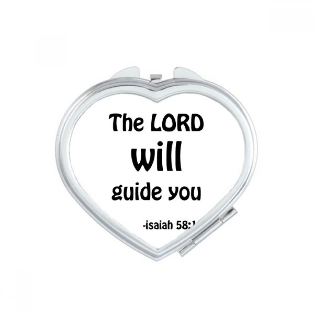 The LORD Will Guide You Christian Heart Compact Makeup Mirror Portable Cute Hand Pocket Mirrors Gift