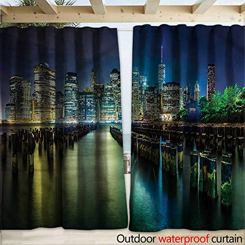 warmfamily New York Indoor Outdoor Curtain Pier Pilings and Manhattan W120 x L96 (Lighted Pier Right)