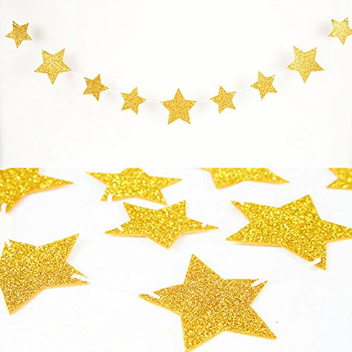 Coceca 50ft Star Paper Garland Bunting Banner Hanging Decoration for Party Decoration, 3.7inches (Gold) by Coceca (Image #4)