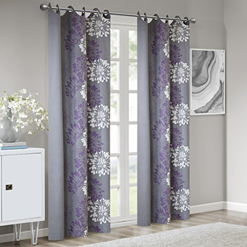 Grey Curtains for Living Room, Modern Contemporary Purple Window Curtains for Bedroom, Anaya Floral Fabric Grommett Window Curtains, 50X63, 1-Panel - Contemporary Curtain Floral
