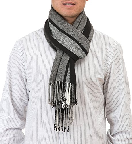 BYLUNTA Men's Pashmina Winter Warm Scarf (74×20.5, Black and Grey)