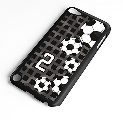 iPod Touch Case Fits 6th Generation or 5th Generation Soccer Ball #4300 Choose Any Player Jersey Number 2 in Black Plastic Customizable by TYD Designs