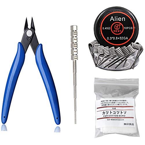 Simple DIY Tool Kit,PLIERS+Coil Winding Jig+Organic Cotton+Alien