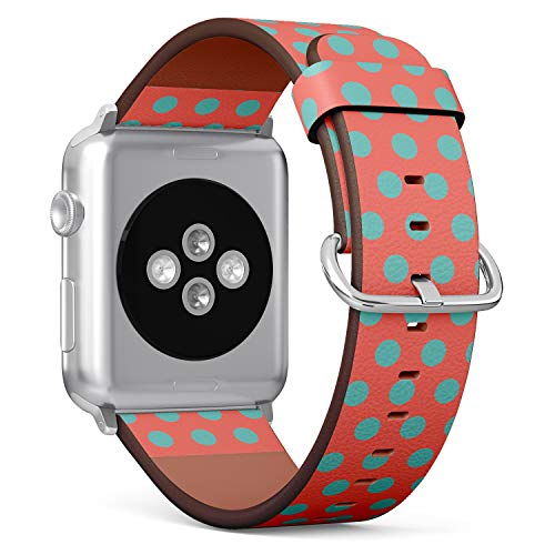 S-Type Replacement Leather Strap Printing Wristbands Compatible with Apple Watch 4/3/2/1 Sport Series (38mm/40mm) Watch Band - Turquoise Polka dots on Living Coral Orange Background (Coral Turquoise Band)