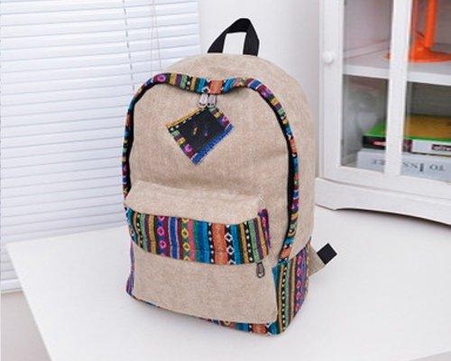 Vintage Canvas Backpack Laptop for Men Casual Bookbag for College (Khaki) - 7