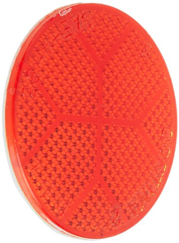 Tapco 2907-05003 Polycarbonate Plastic Round Adhesive Backed Reflector with Red Lens, 2-1/8