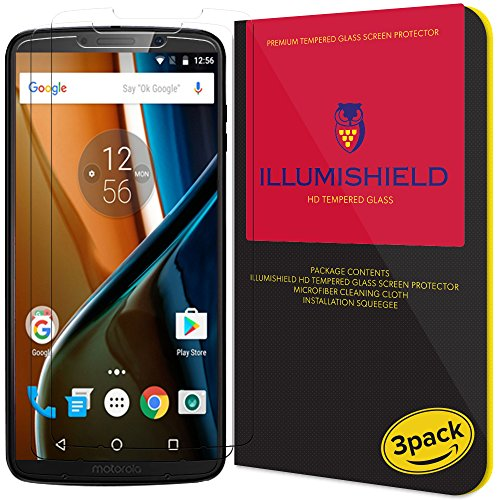 Moto Z3 Play Screen Protector (3-Pack), iLLumiShield HD Clear Tempered Ballistic Glass Screen Protector for Moto Z3 Play 9H Hardness Anti-Bubble Shield