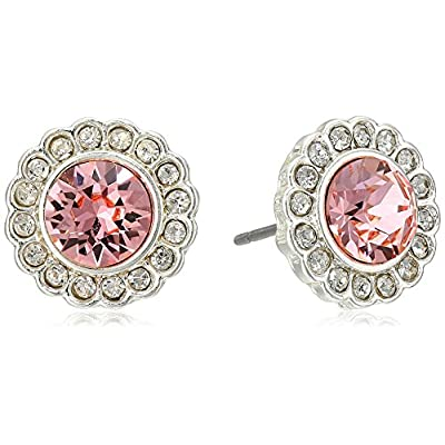 Vera Bradley Pave Silver Tone with Pink Stud Earrings free shipping