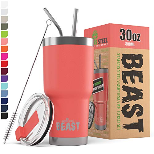 BEAST 30oz Coral Tumbler - Stainless Steel Vacuum Insulated Coffee Ice Cup Double Wall Travel Flask