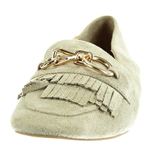 a729e2bb1322 ... Angkorly Damen Schuhe Mokassin - Slip-On - Fransen - Kette - Golden  Blockabsatz 1 ...