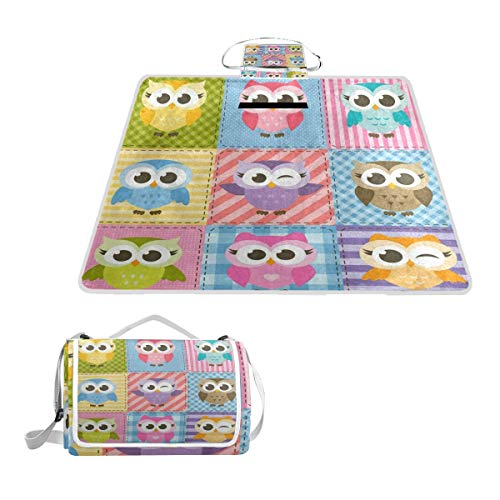 (Picnic Blanket Colorful Funny Owl Plaid Outdoor Blanket Portable Moisture Proof Picnic Mat for Beach Camping)