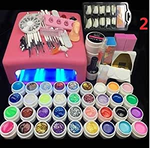 Amazon Com 36 W Uv Lamp And 36 Colors Uv Gel Nail Art Nail Tools Set Nail Polish Nail Gel