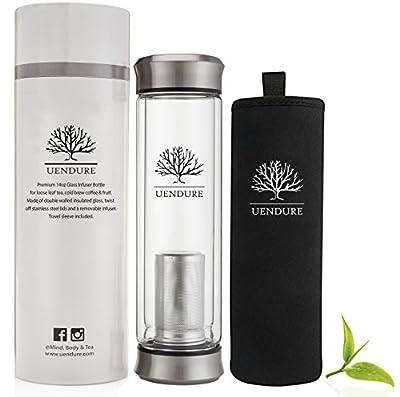 The Original Tea Infuser Bottle by UEndure – NEW & Improved V2 Design – Loose Leaf Tea Cup + Stainless Steel Filter - Perfect Glass Travel Mug + Insulating Sleeve - 14oz Teapot for One