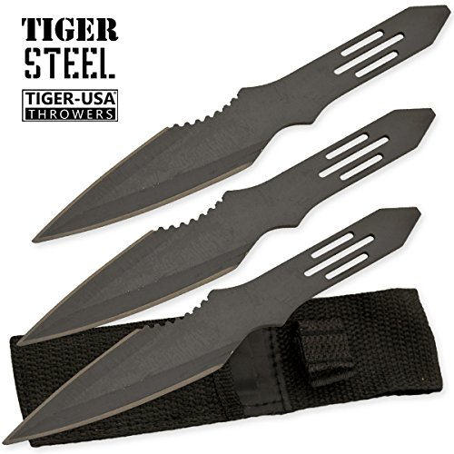 Tiger Throwing Knives - Tiger USA 3 Piece Ninja Martial Arts Throwing Knife Set with Protective Case