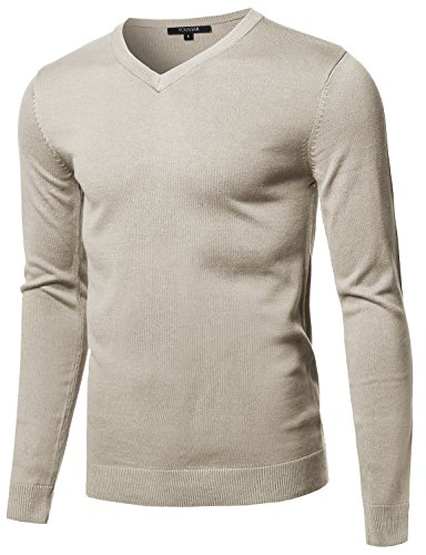 Youstar Men's Casual Solid Soft Knitted Long Sleeve V-neck Sweater