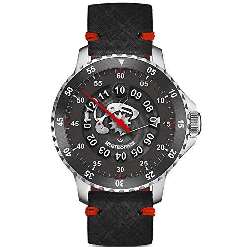 Meistersinger Men's Salthora Meta X LE 150 PCS 43mm Leather Band Steel Case Automatic Watch SAMX902TR