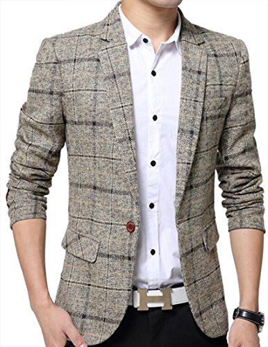 Jotebriyo Mens Regular Fit Casual Plaid Print Lapel Collar England Single Button Blazer Jacket Coat Khaki XL