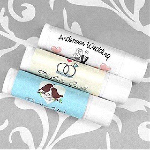 Custom Chaps (Set of 24 Wedding Lip Balm Favors Custom Chapstick Wedding Lip Balm (White Tube) favors)
