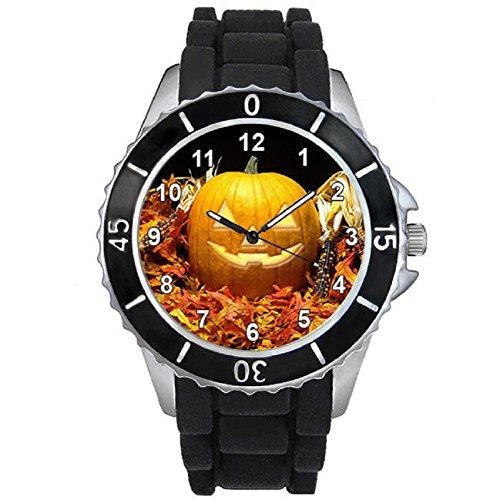 Halloween Pumpkin Light Mens Unisex Black Jelly Silicone Wrist Watch