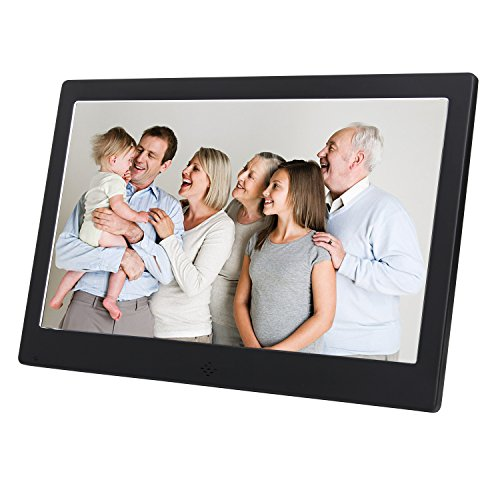 10 Inch Digital Photo Frame Metal Frame Electronic Picture Frame High Definition(720P)Video/Audio Player LCD Display 1024x600 USB/SD/MS/MMC Slot Support,with Wireless Remote Control(Black)