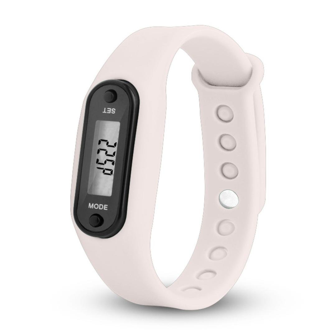 Sports Watches Run Step Watch Bracelet Pedometer Calorie Counter Digital LCD Walking Distance Watches (White)