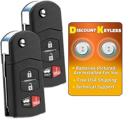 KeylessOption Keyless Entry Car Remote Control Uncut Key Fob Replacement for KPU41788 Pack of 2