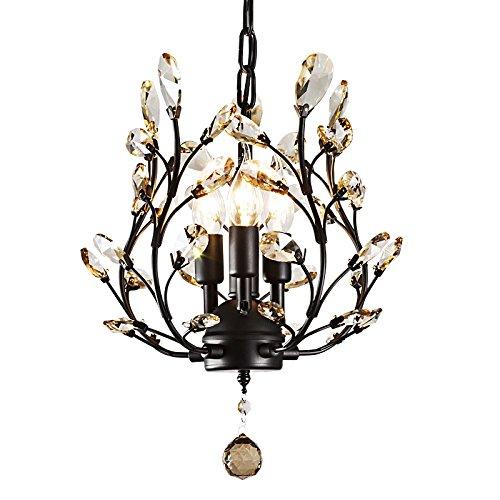 LightInTheBox Holly 3 Light Antique Copper Vintage Bowl Globe Island Lantern Crystal Leaves Chandelier for Living Room Bedroom Porch Chandelier (Leaf Chandelier)