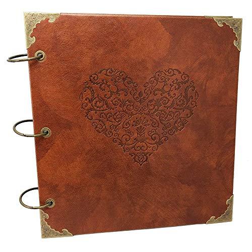 Longpro Heart Scrapbook Album,Leather DIY Self Adhesive Photo Album Embossing Retro Wedding Guest Book Family Memory Book