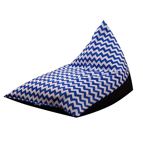 Fokine Stuffed Animal Bean Bag Cover, Comfy Toy Storage Chair-Best Solution for Plush Toys, Towels,Clothe (Dark Blue&White Wave)