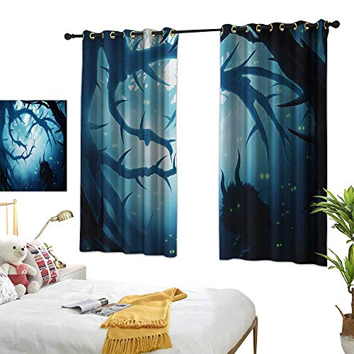 LsWOW Bedroom Curtains W55 x L72 Mystic,Animal with Burning Eyes in The Dark Forest at Night Horror Halloween Illustration,Navy White BedroomRoom Darkening,Blackout Curtains Room/Kid's -
