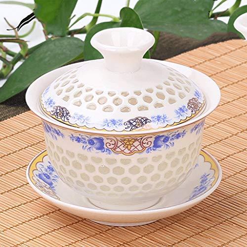 Japanese Garden Rose Lid Bowl Teacup Large Tea Bowl Kungfu Tea Set Teapot Ceramic Teacup ()