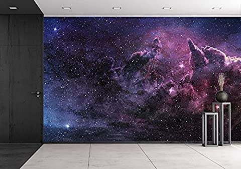 wall26 - Purple Nebula and Cosmic Dust in Star Field - Removable Wall Mural   Self-adhesive Large Wallpaper - 66x96 (Dark Purple Wallpaper)