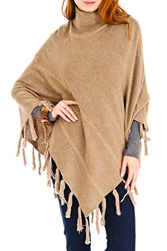 100% Mongolian Cashmere Turtleneck Poncho/Wrap with hand made fringes (Camel/beige) by Venezia Cashmere
