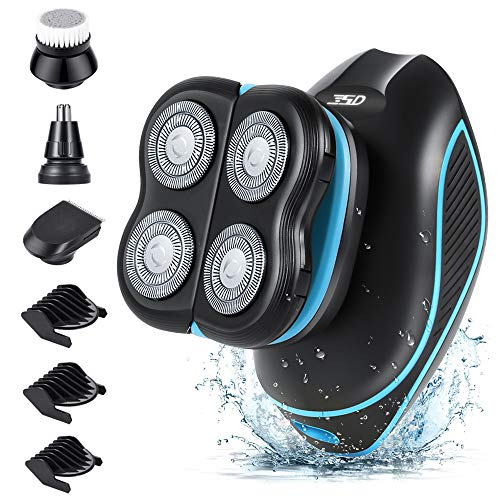 Electric Shavers for Men Teamyo 5D Floating Deep Clean Head Shaver for Bald Men, Fast Charging IPX7 Waterproof Mens Electric Razor with Hair Clippers Nose Hair Trimmer & Facial Cleaning Brush