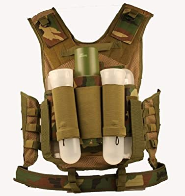 Ultimate Arms Gear Tactical Scenario Woodland Camo Paintball Airsoft Battle Gear Tank-Armor Pod Vest