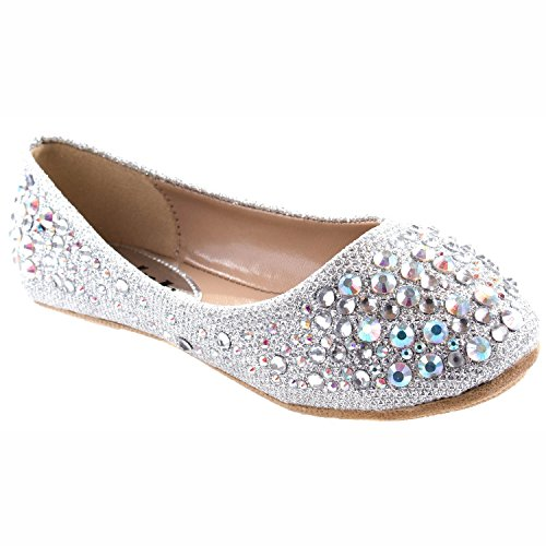 Link Forever Girls Rhinestone Studded Slip On Ballet Flats Silver 2M Little Kid ()