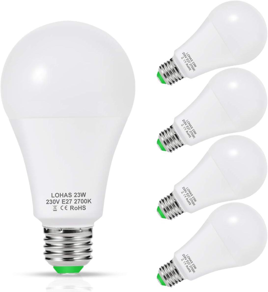 LOHAS Bombilla LED E27, 23W Bombilla LED Equivalent a 200W Incandescente Bombilla, Blanco Calído 2700K, 2500 Lúmenes, 240 ° Ángulo de Haz, Bombilla de Bajo Consumo, No-regulable, Paquete de 4 Unidades