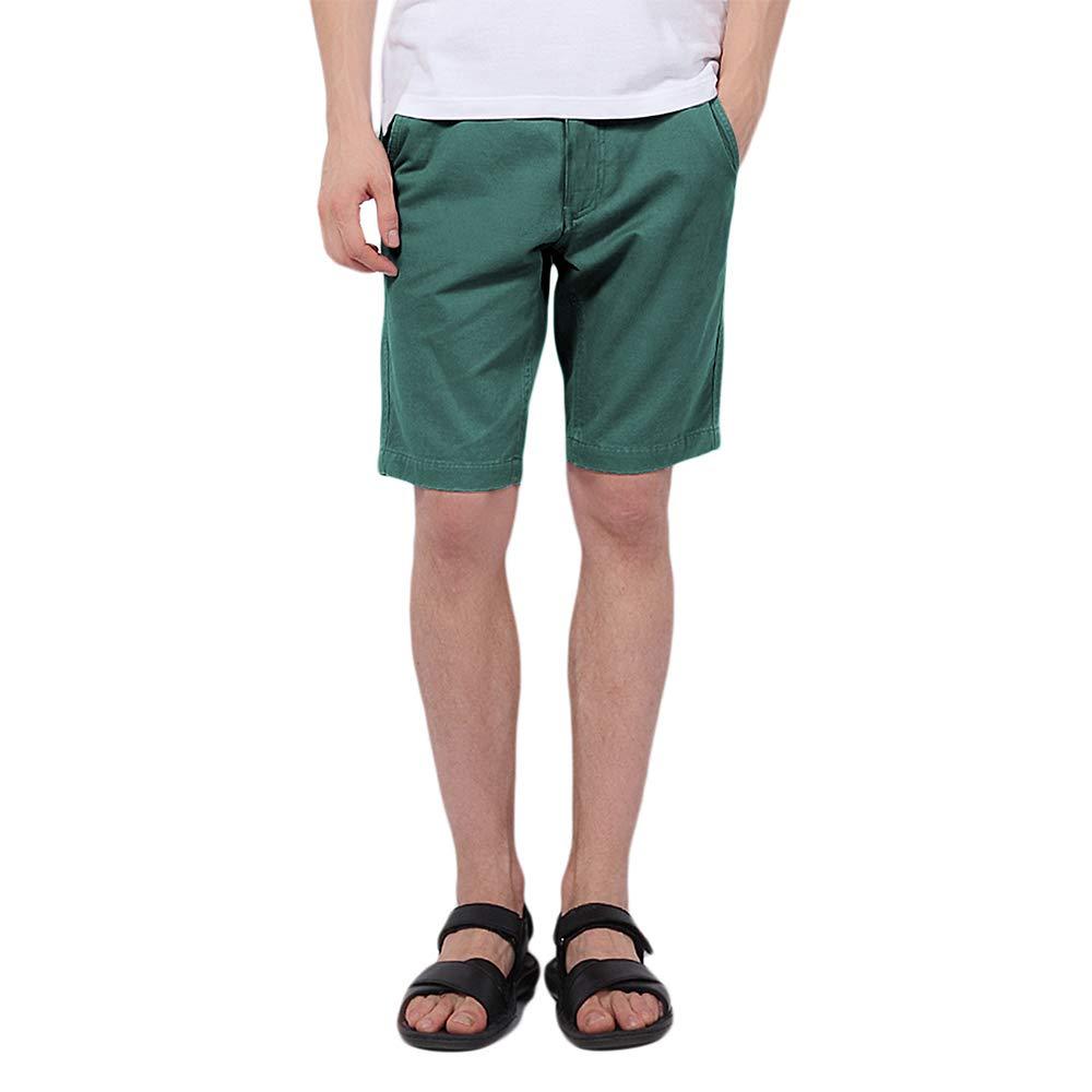 Pau1Hami1ton PH-01 Men's Chino Casual Shorts Slim Fit(36 Green Blue)