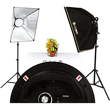 LITEBOX LED Photography Softbox Light Lighting Kit - Pair with integrated Multi-Level Dimmer (New Rotatable Softbox Design) plus 2 Stands, Diffusers, and Travel Bag.