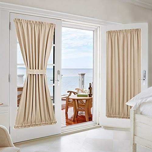 NICETOWN Room Darkening Door Curtain Panels - Window Treatment Room Darkening French Sliding Glass Door Blinds Curtains Shades (2 Panels, 54 inches Wide x 72 inches Long, Biscotti Beige)