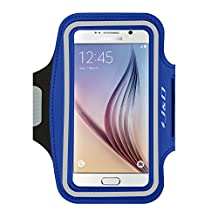 Galaxy S6 Armband, J&D Sports Armband for Samsung Galaxy S6, Key holder Slot, Perfect Earphone Connection while Workout Running (Blue)