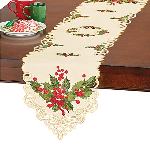 (Collections Etc Christmas Holly Table Topper Linens, Embroidered Details and Lace Cutwork, Festive Dining Decor, Runner)