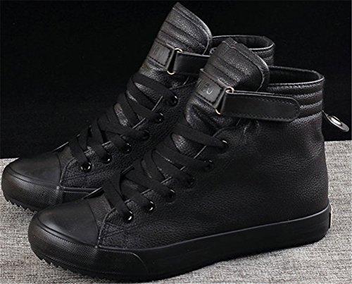 Sneaker Satuki Fashion Da Uomo, Casual High Top In Pelle Classica Allacciate Morbide Scarpe Sportive Leggere Atletiche Nere