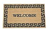 Home Garden Hardware 39687 Greek Key Welcome Printed Coir Doormat,Natural,Small